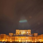 UFO Shines Ray on the Palace of the Parliament in Bucharest