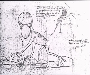 Bartlett's Drawing of his Dover Demon sighting