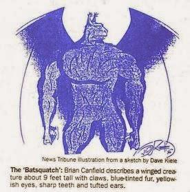 Rendering of Canfield's Batsquatch encounter