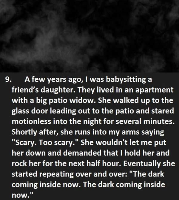 Creepy things said to baby sitter - Child tells baby sitter about black mist coming into the house